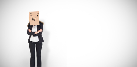 against white: Businesswoman with box over head against white background with vignette