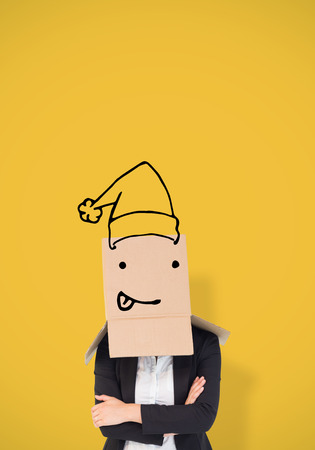 well dressed woman: Businesswoman lifting box off head against yellow vignette