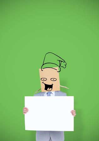 anonymous: Anonymous businessman against green vignette