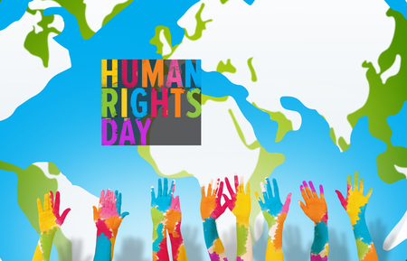 mature adult: Group of people raising arms against human rights Stock Photo