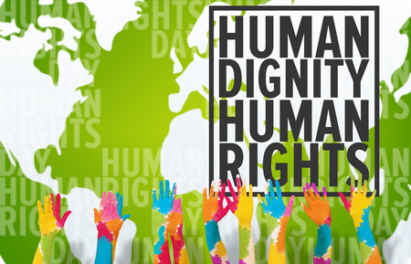 Group of people raising arms against human rights Stock Photo