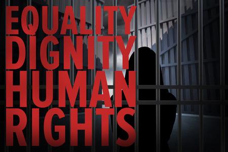 derechos humanos: Imagen abstracta de silueta de la mujer de pie contra los derechos humanos Foto de archivo