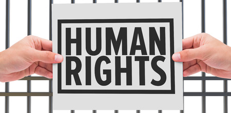interned: Hand showing card against human rights