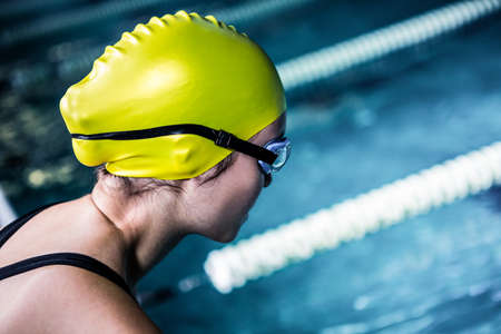 lane marker: Swimmer about to dive in pool at the leisure centre