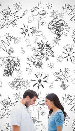 pareja enojada: Angry couple shouting at each other against swearing doodles