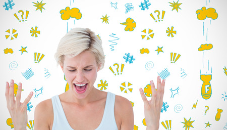 angry blonde: Angry blonde yelling with hands up  against white background with vignette