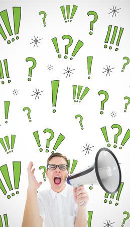 businessman using a megaphone: Geeky businessman shouting through megaphone against swearing doodles