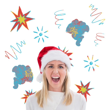 swearing: Stressed blonde in santa hat against swearing doodles