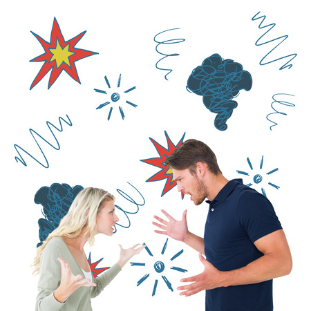 swearing: Angry couple facing off during argument against swearing doodles