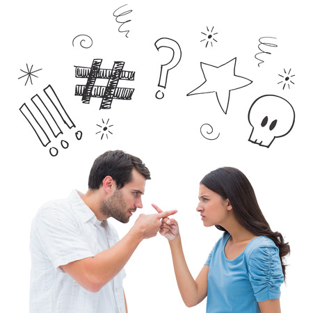 swearing: Angry couple pointing at each other against swearing doodles