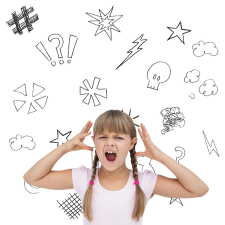 swearing: Crazy little girl  against swearing doodles