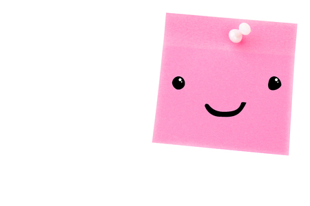 digital image: Smiling face against digital image of pushpin on pink paper