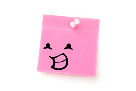 adhesive  note: Smiling face against pink adhesive note with pushpin