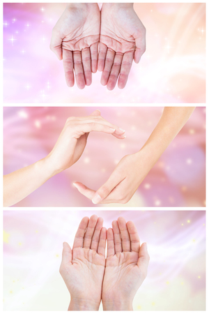glimmering: Hands showing against glowing background