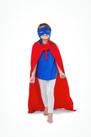 pretending: Masked girl pretending to be superhero on white screen