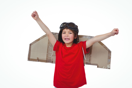 pretending: Boy pretending to be a pilot on white screen Stock Photo