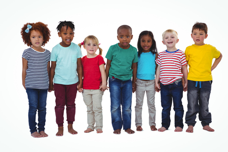 barefoot people: Cute barefooted kids looking at camera on white screen Stock Photo