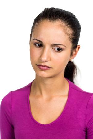 desolaci�n: Sad woman looking down on white screen