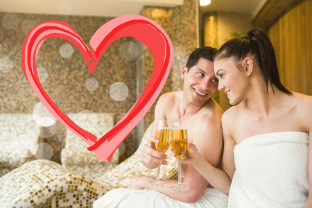 heart suite: Couple relaxing in the thermal suite against heart