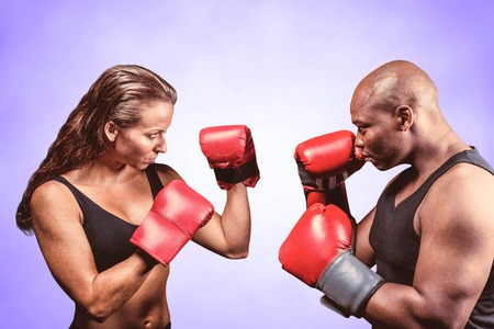 fighting stance: Athletes with fighting stance against purple background