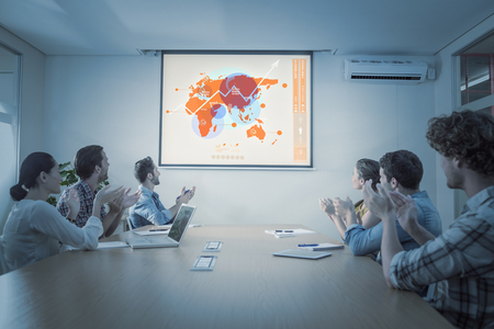 attentive: Futuristic interface with the world map  against attentive business team applausing after a conference