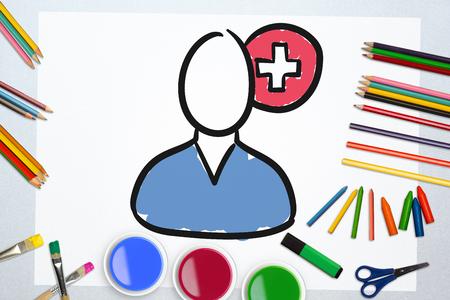 plus sign: Illustration of surgeon against plus sign against art supplies