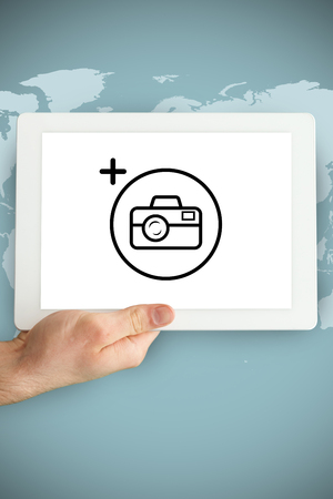 tablet pc in hand: Photography apps against hand holding tablet pc