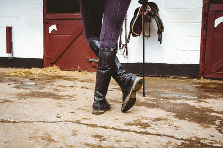 reigns: Rear view of jockey in stable in the countryside