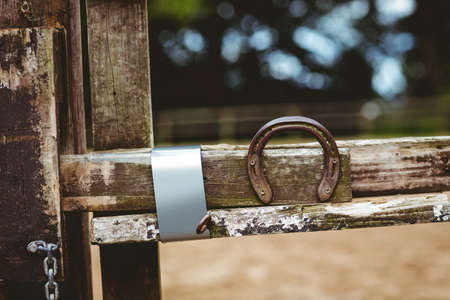 recreational pursuits: Horseshoe fixed on fence in the countryside