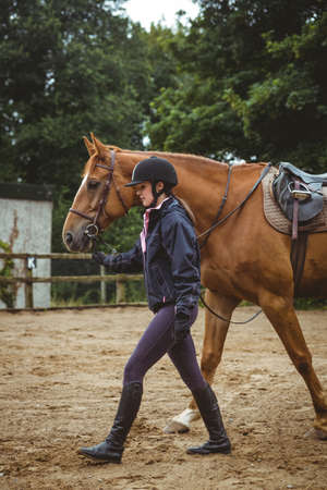 reigns: Female rider leading her horse in the countryside
