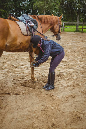 reigns: Female rider cleaning horseshoe in the countryside