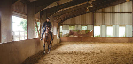 reigns: Female rider riding her horse in the countryside LANG_EVOIMAGES