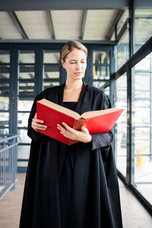 attentively: Female lawyer reading a book attentively in her firm