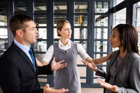 people arguing: Business people arguing together while businesswoman putting hands up in office LANG_EVOIMAGES