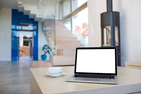 wood burner: Modern living room interior with laptop on table