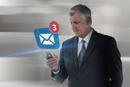 against abstract: Businessman using his smartphone against abstract white design Stock Photo