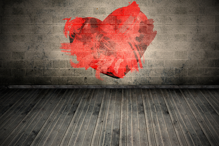 grimy: Heart  against grey room Stock Photo