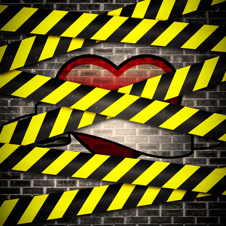cordoned: heart with scroll against cordon tape over grey wall Stock Photo