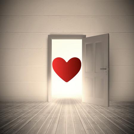 heart against open door on white wall