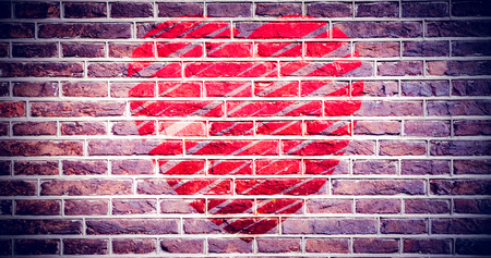 red brick wall: heart against red brick wall Stock Photo