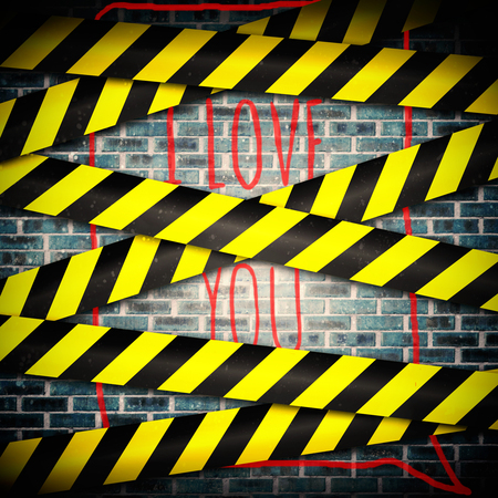 cordoned: i love you against cordon tape over grey wall