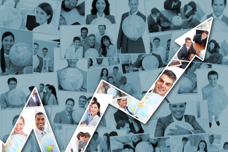 team hands: Red arrow pointing up against collage of business people Stock Photo