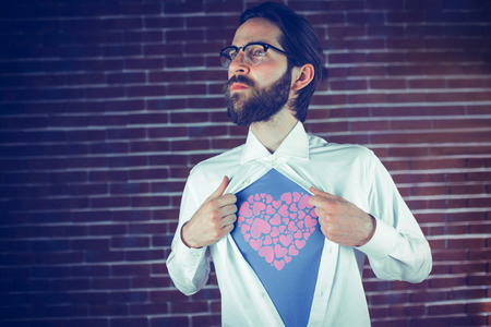 Liebe: ich liebe dich against thoughtful man opening shirt in superhero style Stock Photo