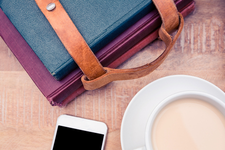 diaries: Coffee with smartphone and diaries on table
