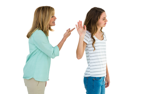 don't care: Mother arguing with her daughter