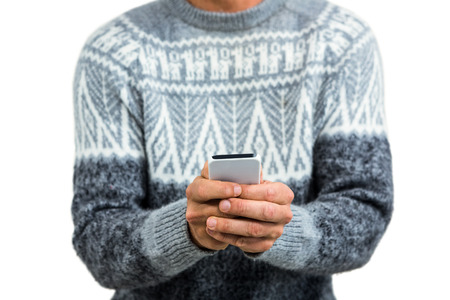 cut out device: Midsection of man using mobile phone against white background