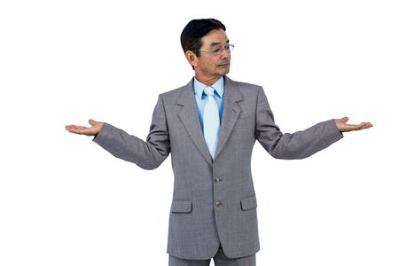 hand gesture: Businessman doing hand gesture on white background