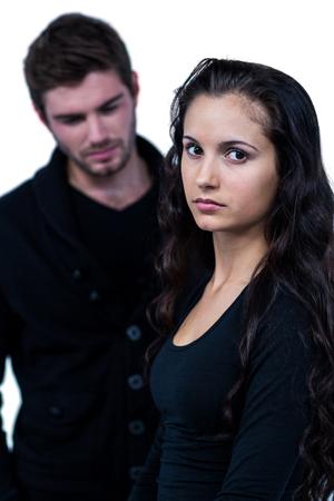 desolaci�n: Pares tristes en el fondo blanco