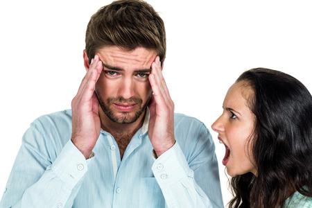 argument: Disturbed couple having argument on white background