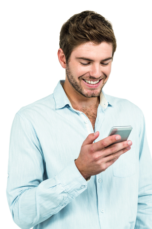 white beard: Handsome man using smartphone on white background